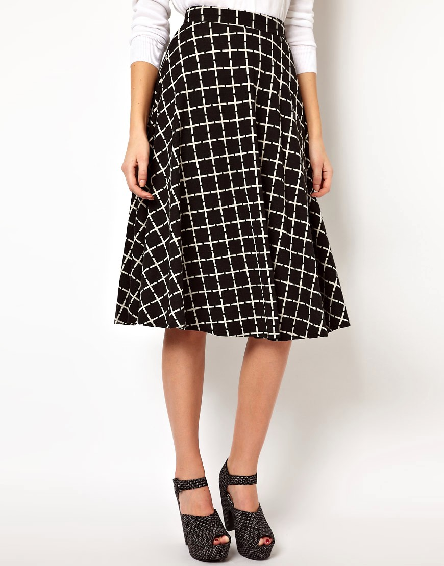 Image 4 of ASOS Midi Skirt In Ponte Check