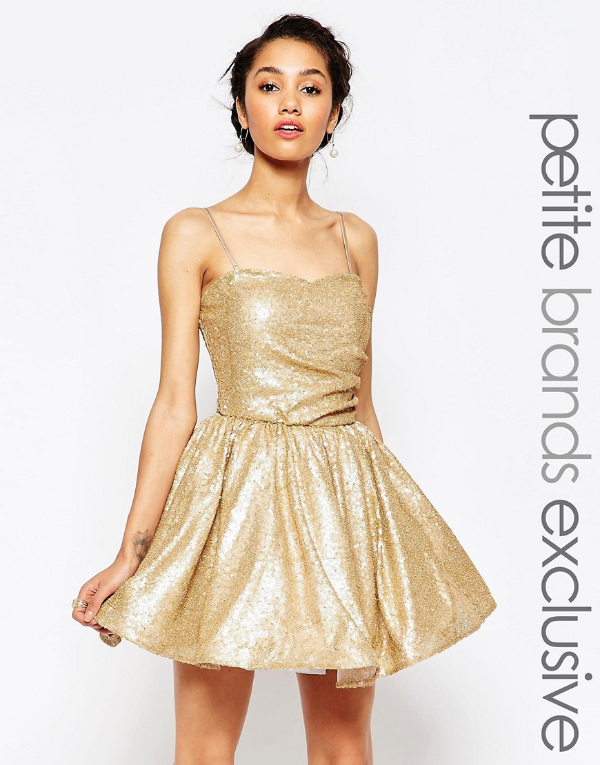 Maya Petite Sequin Prom Dress - Gold