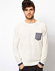 Jack & Jones Intelligence Sweater With Chambray Pocket