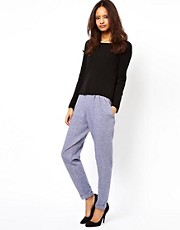 ASOS Peg Trousers in Chambray Effect
