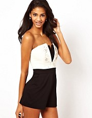 Lipsy Playsuit with Embellished Bodice