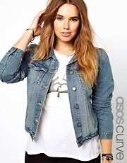 ASOS CURVE - Giacca di jeans lavaggio stone wash medio effetto consumato
