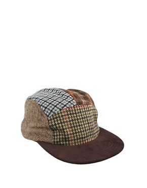 Image 1 ofASOS 5 Panel Cap With Mixed Tweed Panels