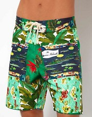 Lightning Bolt - Pantaloncini da surf da 19&quot; a patchwork in stile hawaiiano