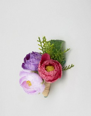 ASOS Wedding Corsage in Purple