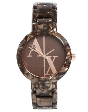 Image 1 ofArmani Exchange Black And Rose Gold Bracelet Watch
