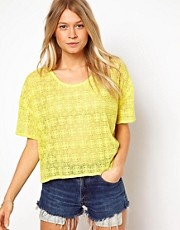 ASOS T-Shirt in Embroidered Mesh