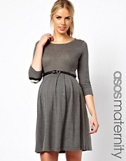 ASOS Maternity Exclusive Knitted Fit And Flare Dress With Panda Elbow Patch