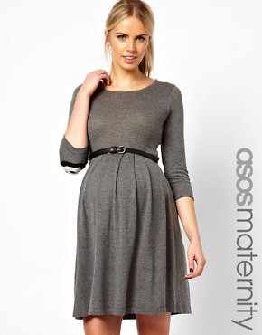 Image 1 ofASOS Maternity Exclusive Knitted Fit And Flare Dress With Panda Elbow Patch