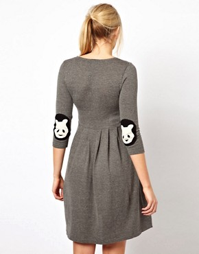 Image 2 ofASOS Maternity Exclusive Knitted Fit And Flare Dress With Panda Elbow Patch