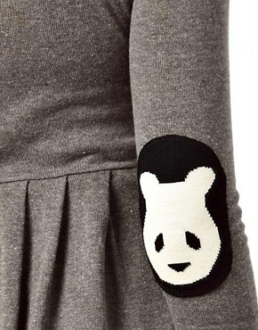 Image 3 ofASOS Maternity Exclusive Knitted Fit And Flare Dress With Panda Elbow Patch