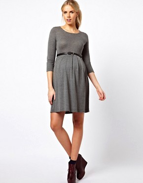 Image 4 ofASOS Maternity Exclusive Knitted Fit And Flare Dress With Panda Elbow Patch