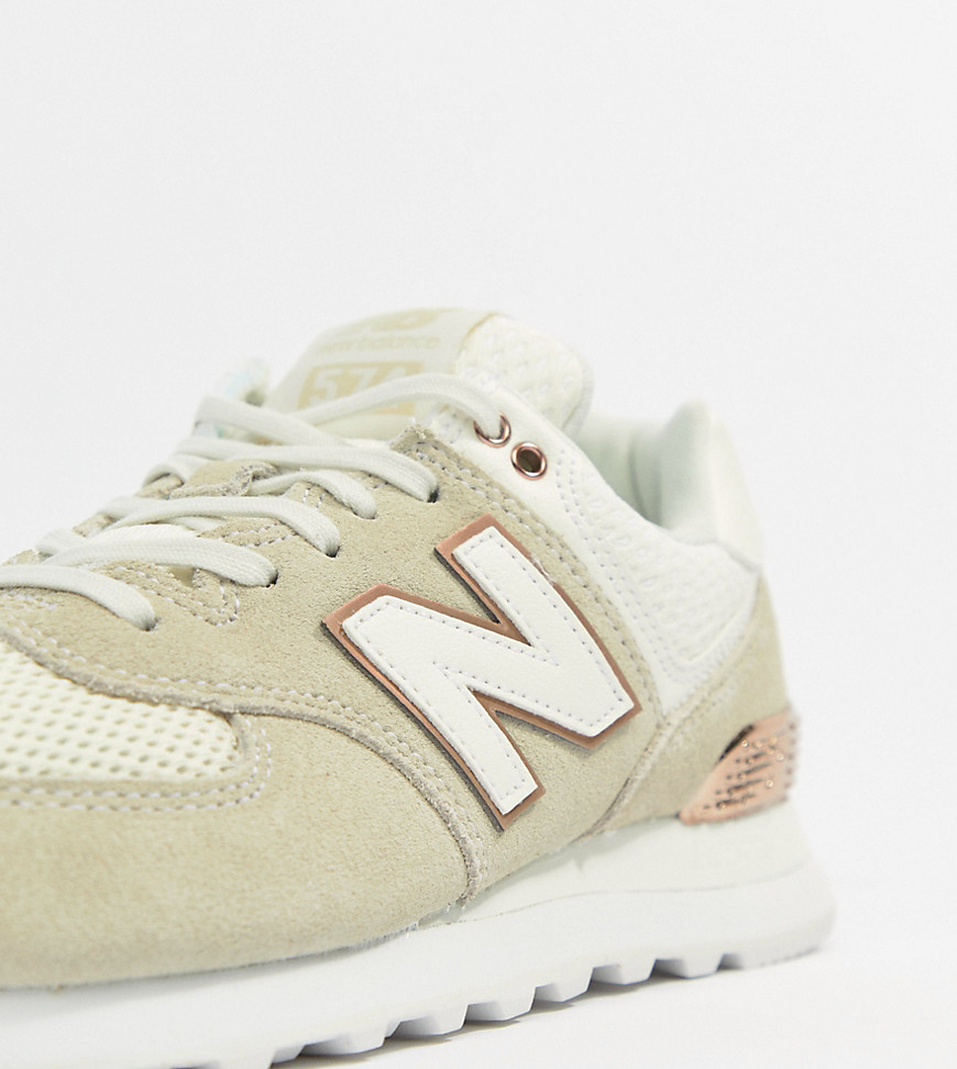 New Balance 574 Cream And Rose Gold Trainers