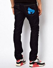 Money Jeans Straight Tapered Fit Selvedge Signature Ape