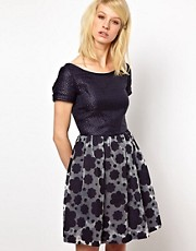 Orla Kiely - Vestito in organza a nuvole con top in rafia