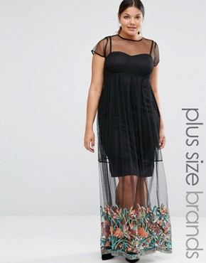 Boohoo Plus Embroidered Hem Mesh Maxi Dress