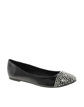 Image 1 ofASOS LOVER Studded Toe Cap Ballet Flats