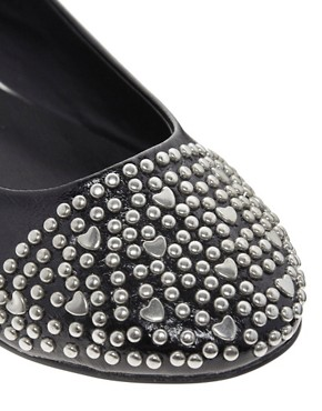 Image 2 ofASOS LOVER Studded Toe Cap Ballet Flats
