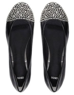 Image 3 ofASOS LOVER Studded Toe Cap Ballet Flats