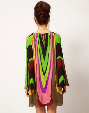 Image 2 ofMilly Multi Print Silk Shift Dress