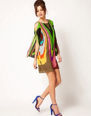 Image 4 ofMilly Multi Print Silk Shift Dress