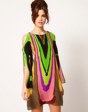 Image 1 ofMilly Multi Print Silk Shift Dress