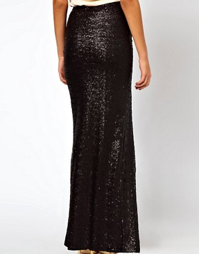Image 2 ofASOS Sequin Maxi Skirt with Thigh High Split