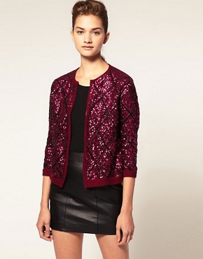 Image 1 ofASOS Cardigan With Sequin Argyle Pattern