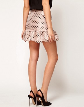 Image 2 ofASOS Spot Mini Skirt With Trumpet Hem