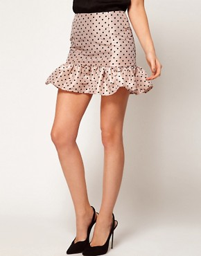 Image 4 ofASOS Spot Mini Skirt With Trumpet Hem