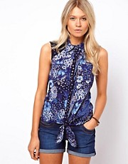 Oasis Floral Sleeveless Tie Shirt