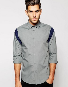 ASOS Shirt in Long Sleeve with Shoulder Inserts