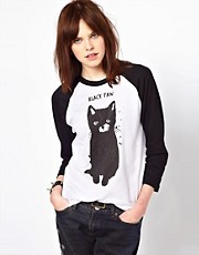 Black Score by Simeon Farrar Exclusive To ASOS Black Paw Cat T-Shirt