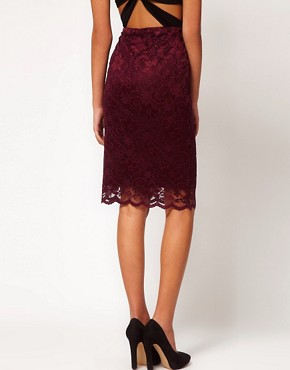 Image 2 ofASOS Pencil Skirt in Lace with Scallop Hem
