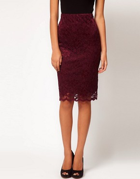 Image 4 ofASOS Pencil Skirt in Lace with Scallop Hem