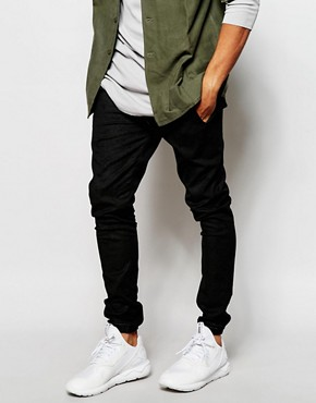 ASOS Skinny Joggers In Faux Leather With Cracked Detail