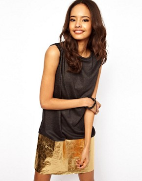 Image 1 ofASOS Shift Dress With Metallic Hem