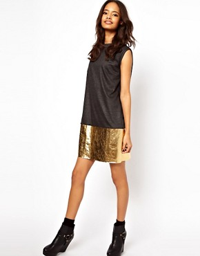 Image 4 ofASOS Shift Dress With Metallic Hem