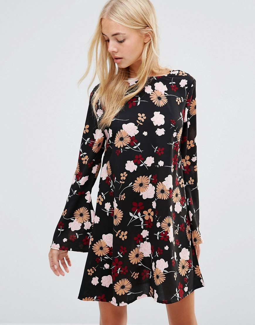Daisy Street Smock Dress In Floral Print - Black
