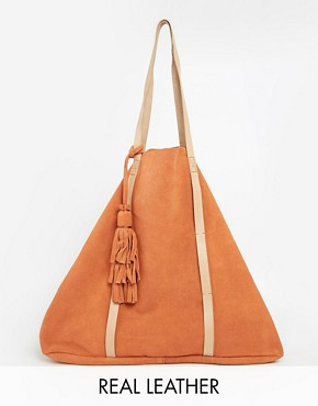Pieces Suede & Leather Hobo Bag with Tassels