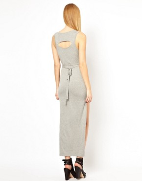 Image 2 ofFactory by Erik Hart Sleeveless Maxi Dress With Cut Away Front Hem