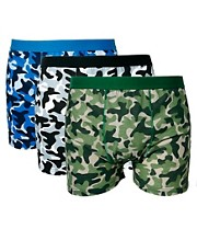 River Island All Over Camo 3 Pack Trunks