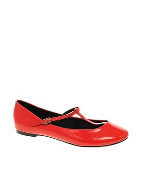 Image 1 ofASOS LEIGH Patent T-Bar Ballet Shoes