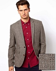 ASOS Slim Fit Suit Jacket In Houndstooth