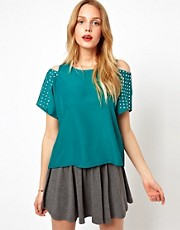Love Cold Shoulder Top With Stud Detail