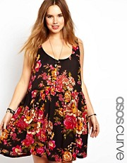 ASOS CURVE Pinafore Sundress In Floral Print