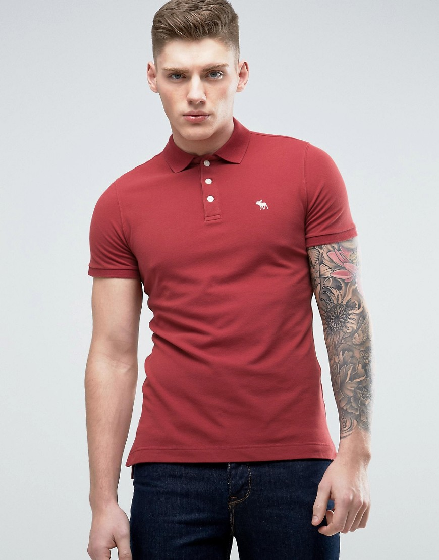Abercrombie & Fitch Slim Fit Core Polo With Moose Embroidery In Burgundy - Burgundy