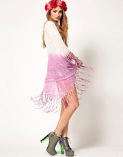Minkpink Sonic Warrior Fringe Cape in Dip Dye