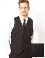 ASOS Slim Fit Waistcoat in Pinstripe