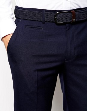 Image 3 ofASOS Slim Fit Smart Trousers in Navy
